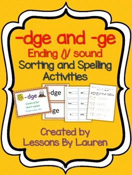 dge and ge sorting and spelling activities ending j sound lessons by lauren spelling. Black Bedroom Furniture Sets. Home Design Ideas