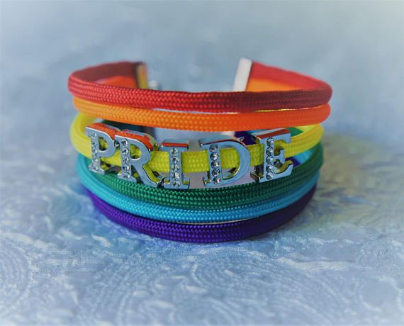 """6 Strand Paracord Adjustable Length Bracelet with PRIDE in Jeweled Letter Charms Adjustable Length 7.5 to 8.5"""" Bracelet  Colors included: Red, Orange, Yellow, Green, Blue, Purple   www.ParacordLady.com ETSY: ParacordLadyTHC Gay Pride, LGBT, Pride"""