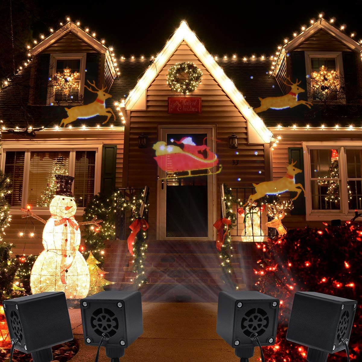 Amazon Com Yunlights Christmas Lights Projector Santa Reindeer Led Projector Lig Outdoor Christmas Decorations Christmas Decorations Christmas Light Projector