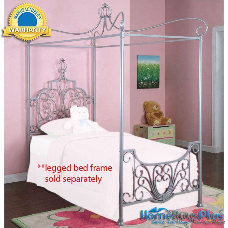 Princess Rebecca Sparkle Silver Canopy Twin Size Bed 411 00 Dream Furniture Kid Room Decor Bed