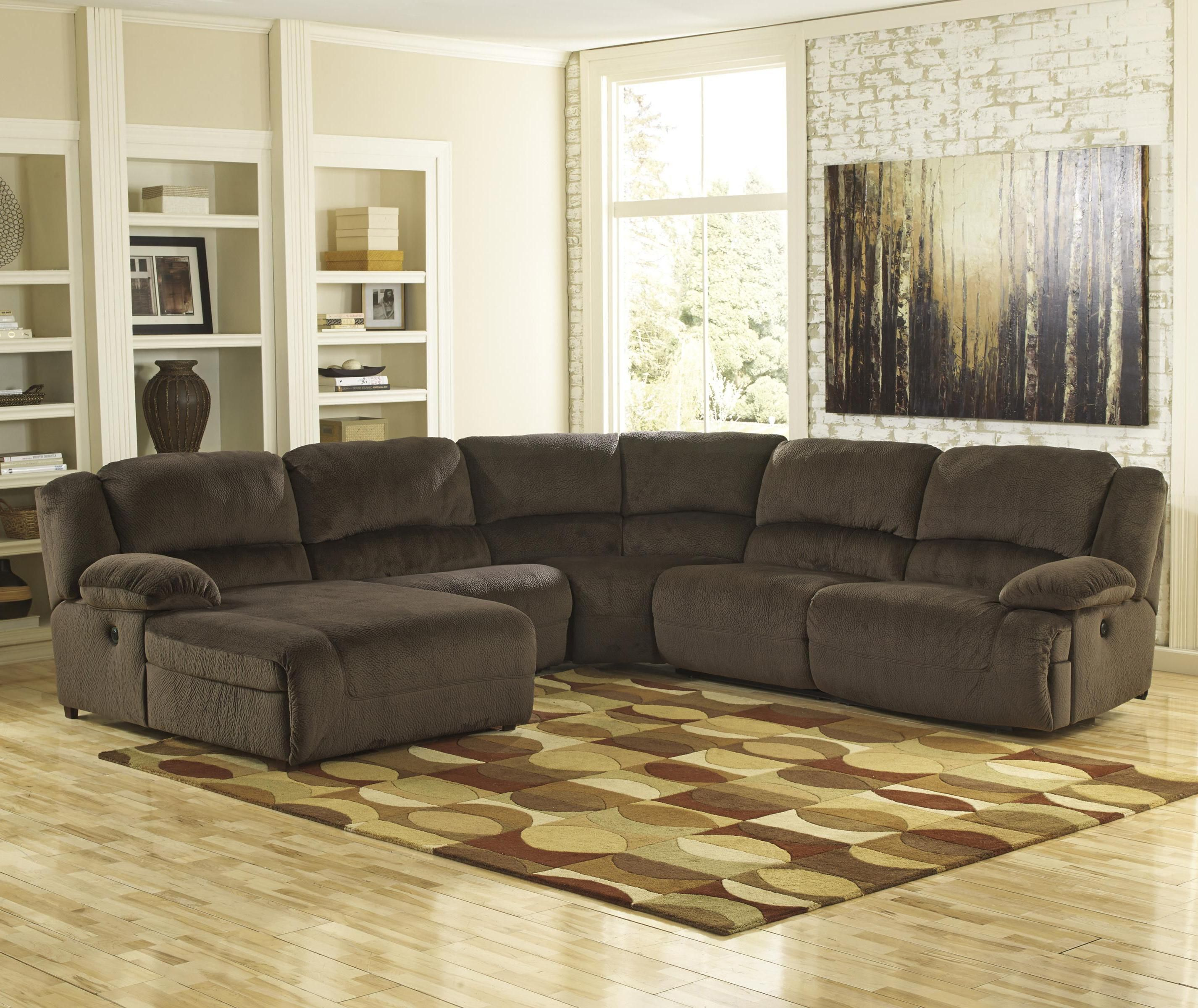 Toletta - Chocolate Reclining Sectional with Left Press Back Chaise ...
