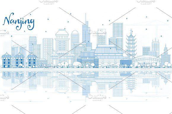 Outline #Nanjing #China #City #Skyline by Igor Sorokin on