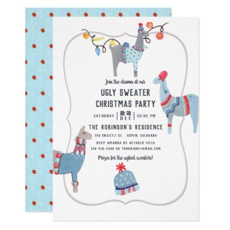 Llama themed Ugly Sweater Christmas Party Invitation in 2018