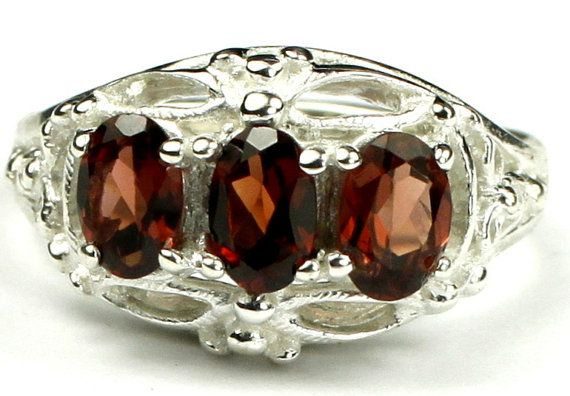 SR163, 3 - 6x4mm Mozambique Garnet, 925 Sterling Silver Ring * Stone Type - Mozambique Garnet * Approximate Stone Size - 6x4mm  * Approximate Stone Weight - 1.5 tcw  * Jewelry Metal - Solid .925 Sterling Silver  * Approximate Metal Weight - 4 grams  * Ring Size - Size selectable during checkout * Our Warranty - A full year on workmanship  * Our Guarantee - Totally unconditional 30 day guarantee