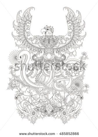 Gorgeous adult coloring page, eagle spread it\'s wings with snake ...