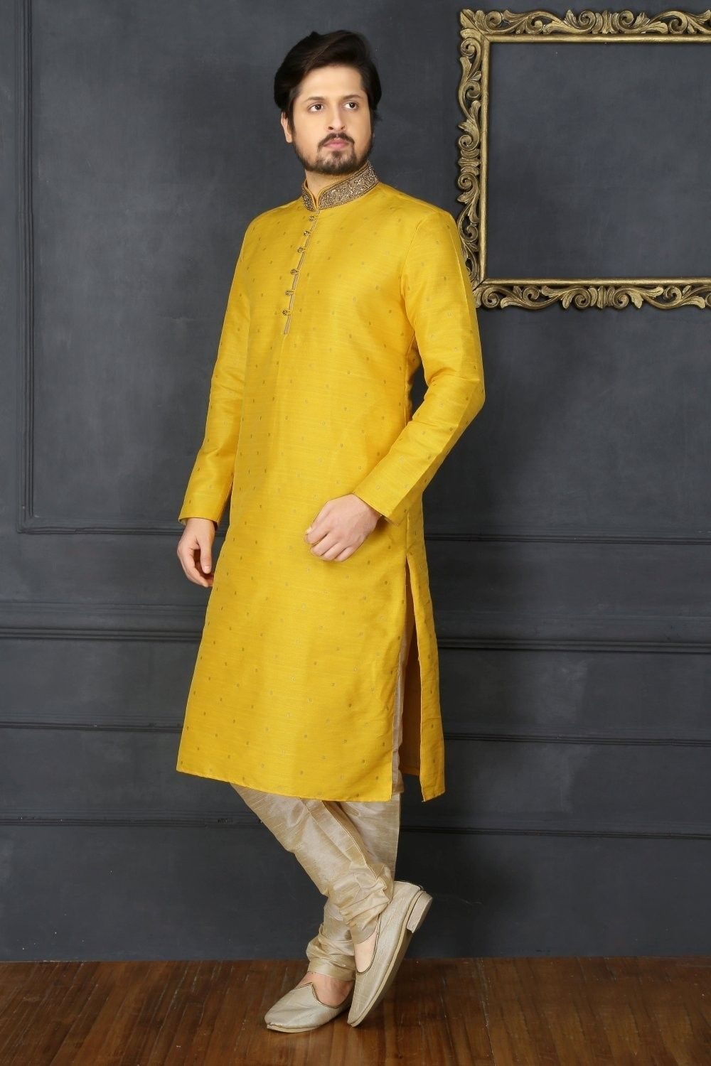 f5f9d6a13d Yellow Art Silk Kurta Pajama Sku:518033 in 2019 | chanicholi | Gents ...