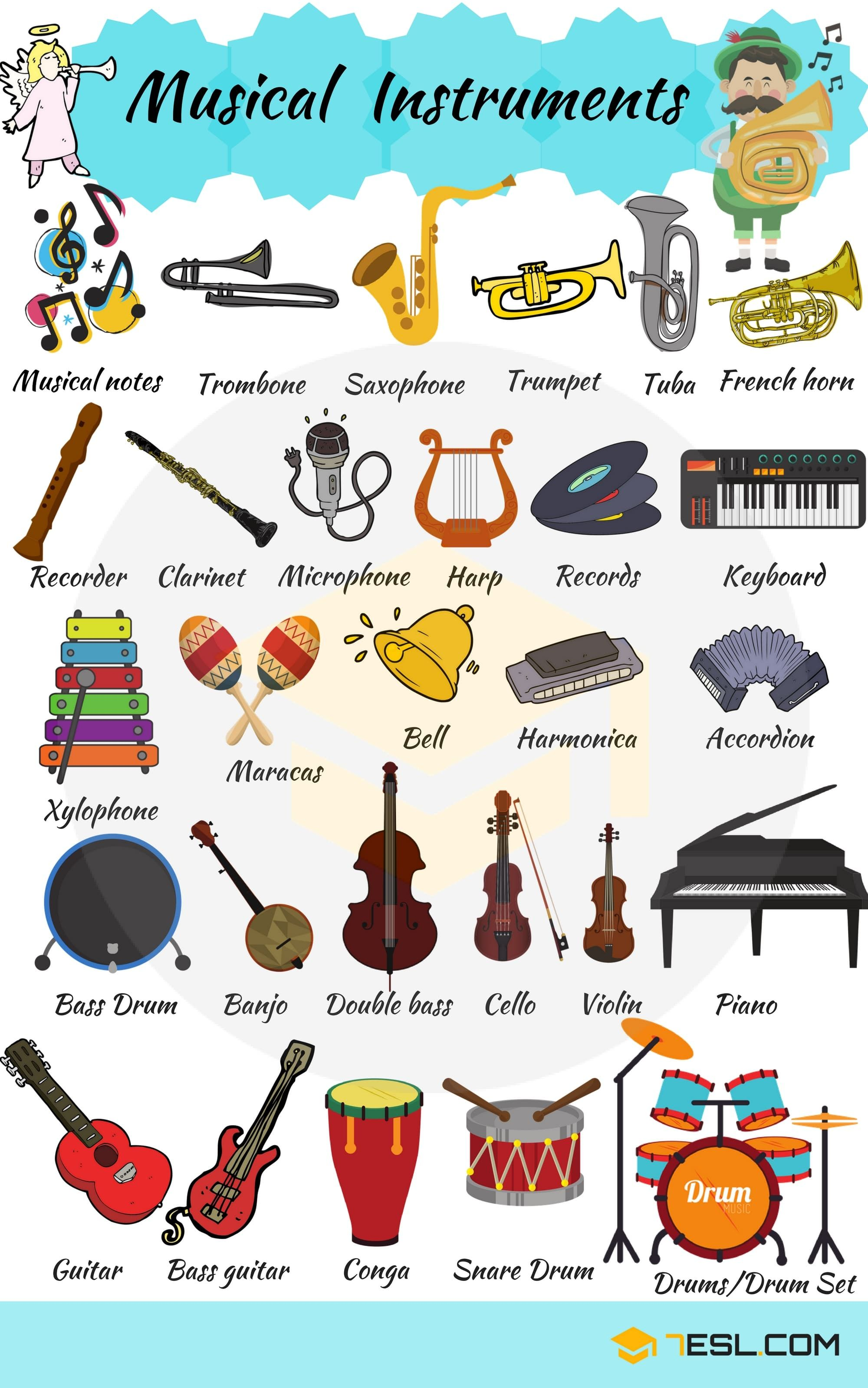 Musical Instruments Vocabulary in English | Ingles | Pinterest ...
