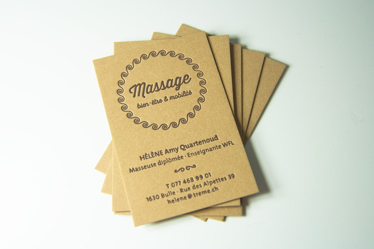 Letterpress Business Card 1 Color On Kraft Paper Carte De Visite Graphisme Cartes