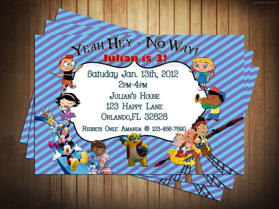 Disney Junior Birthday Party Invitation With Little Einsteins – Disney Photo Birthday Invitations