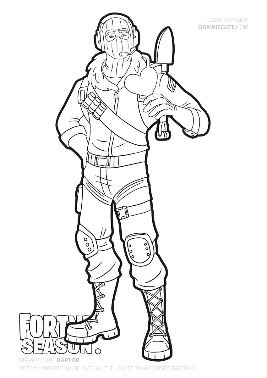 Download or print this amazing coloring page: Raptor  Fortnite