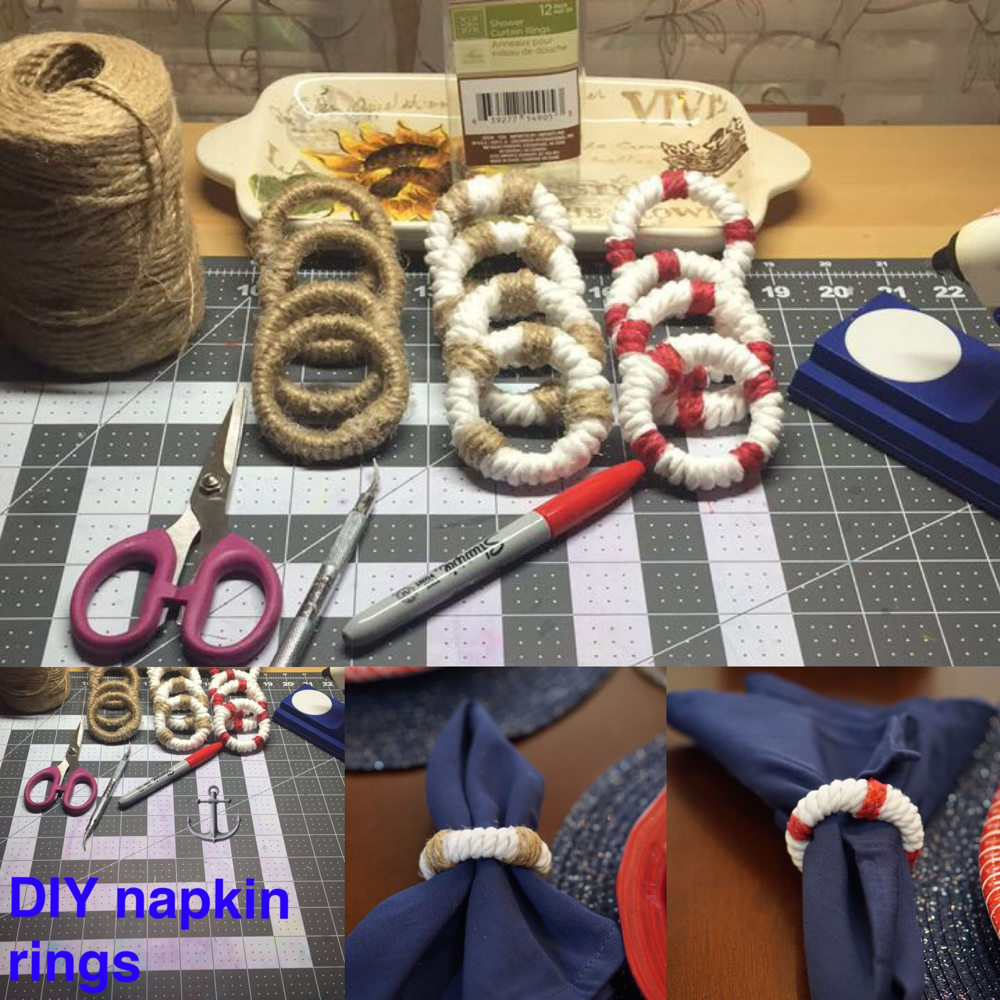 DIY Nautical Napkin Rings ⚓ Made From Dollar Tree Shower Curtains And Twine.
