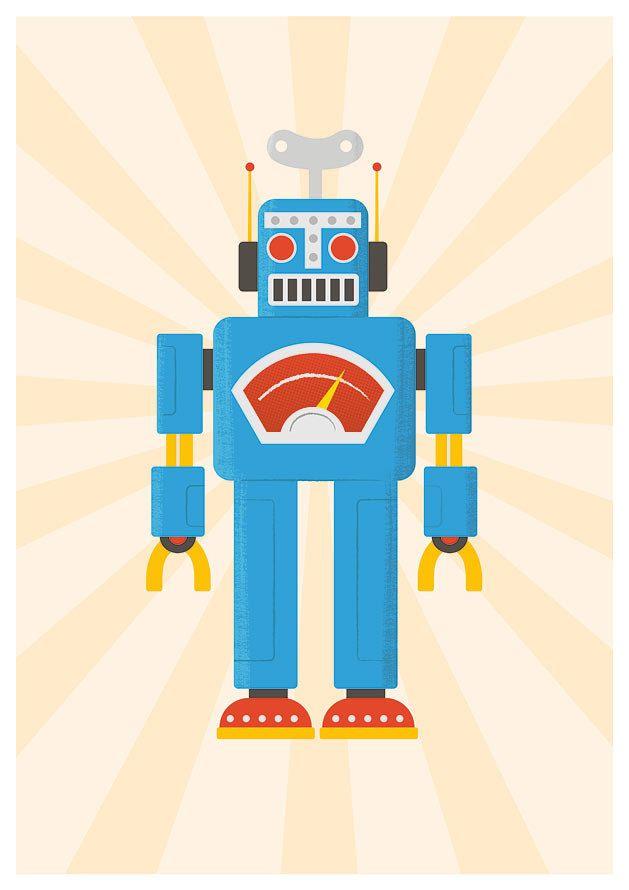 Nursery art print,  Robot print,  Children's Decor, Kids Art, Nursery prints,  Baby Nursery print  RETROBOT A3. $21.00, via Etsy.