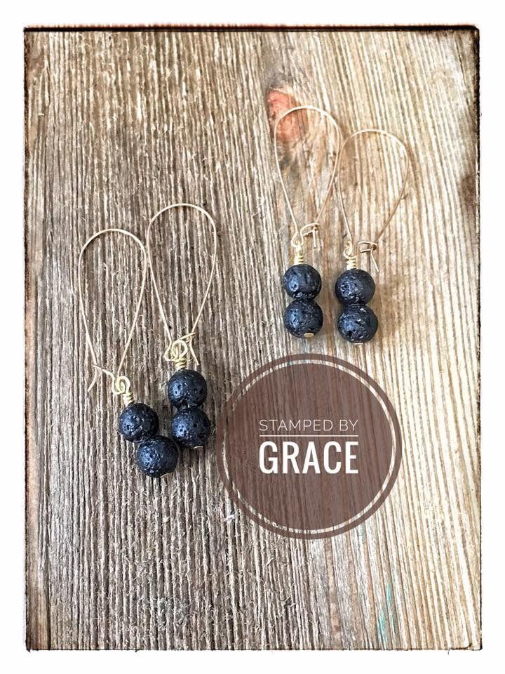 Lava Rock Essential Oil Diffuser Kidney Wire Earrings | Stamped By ...