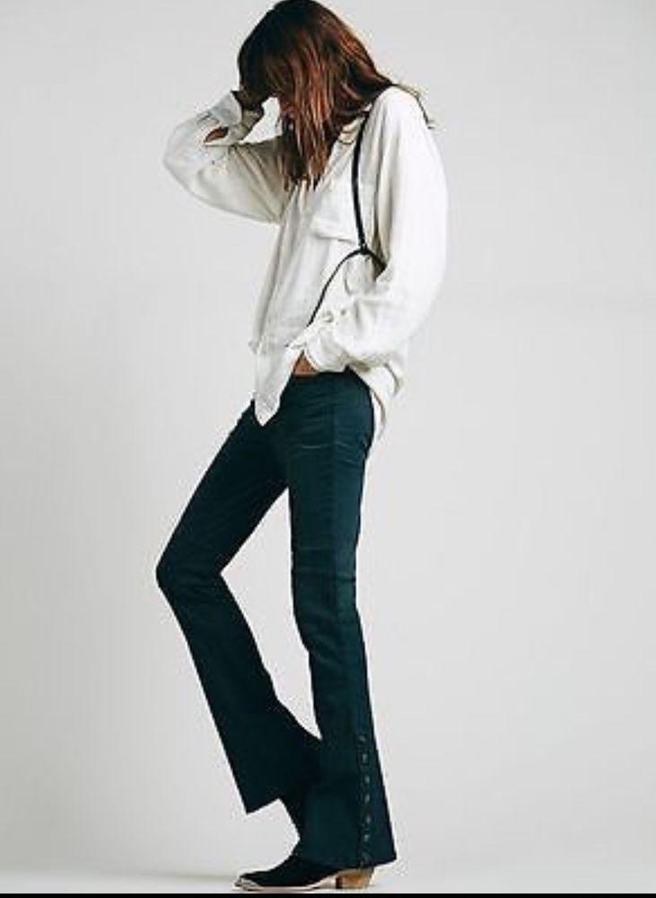 NWOT $128  People flare Jeans wake blue (green) Skyler Seamed Skinny 29  #FreePeople #Sklyerseamedskinny