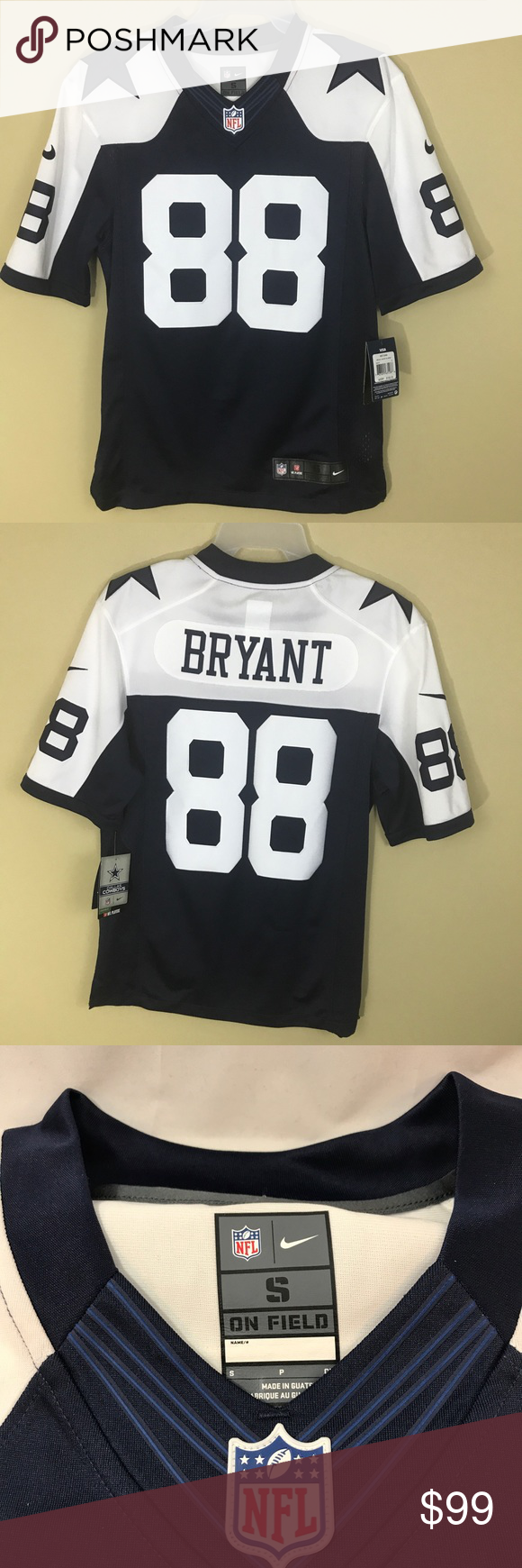 670cd714 Nike Men's NFL Dallas Cowboys Bryant 88 elite Sewn Nike Mens Dallas Cowboys  Jersey Dez Bryant 88 White and Navy blue Sewn letters size small New  Limited ...