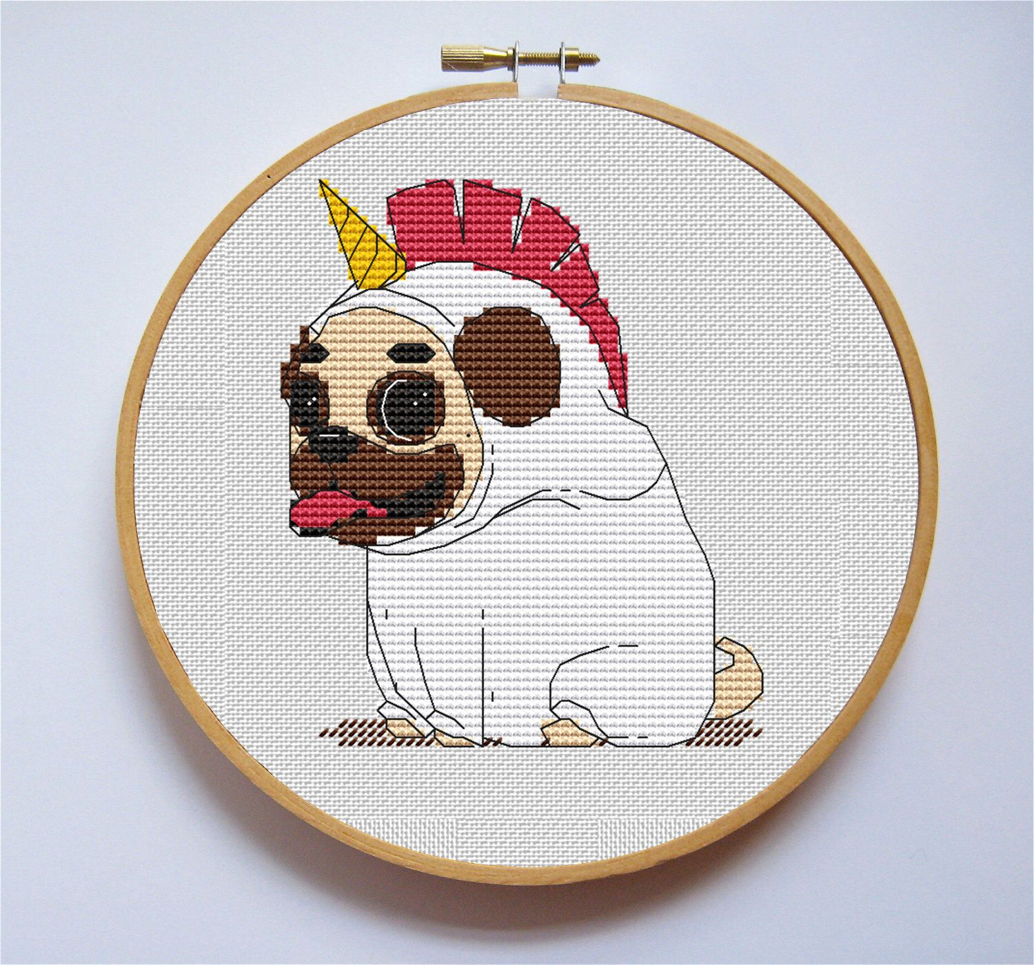 Sweet Little Pug Unicorn Dog Cross Stitch Pattern Cute Embroidery