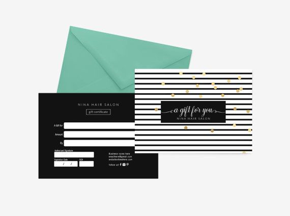 Nina Gold Double Sided Gift Certificate Template Instant Download
