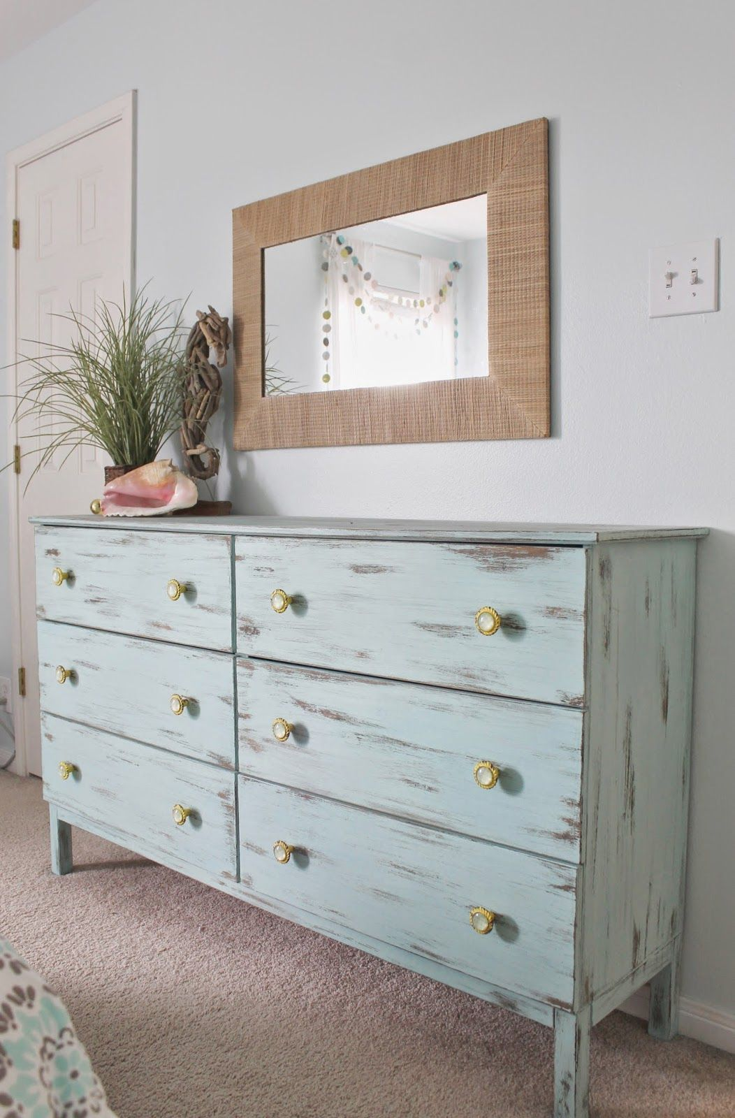 Beach Themed Bedroom. Aqua Painted Unfinished Dresser From Ikea. Distressed  Finish, Paired With
