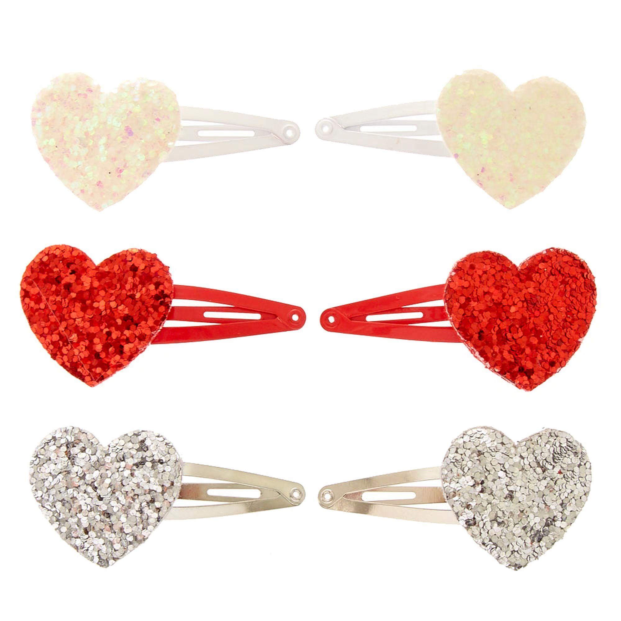 Glitter Hearts Hair Clips