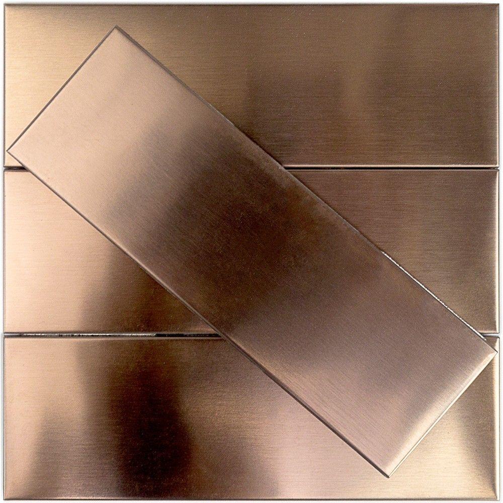 Shop 12 pc set metal subway tiles in matte copper stainless steel shop 12 pc set metal subway tiles in matte copper stainless steel at tilebar dailygadgetfo Images