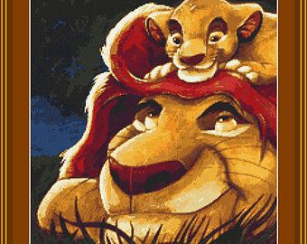 Lion King Simba with His Dad Disney Movie Lion King Father and Son Cross Stitch Pattern in PDF for Instant Download