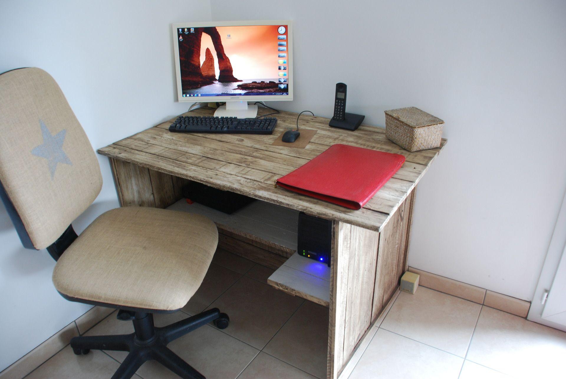 bureau en bois de palette - patiné vieilli : meubles et rangements