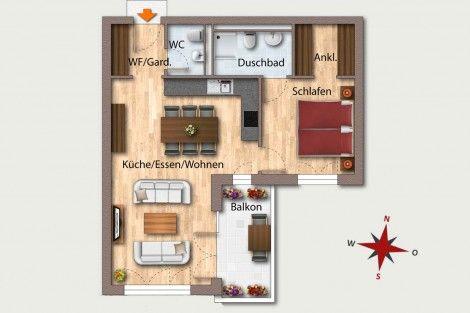Wohnung 24  OG 4 58,93 m² Aufteilung 2 Zimmer Wohnen - küche zu verkaufen