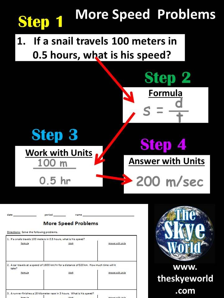 More Speed Problems Acceleration Problems Step By Step Worksheet