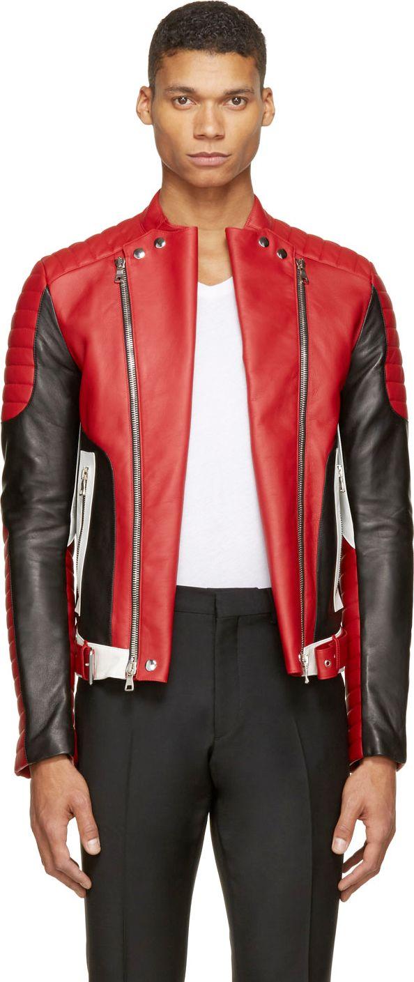Balmain Red Leather Biker Jacket Leather Jackets Jackets