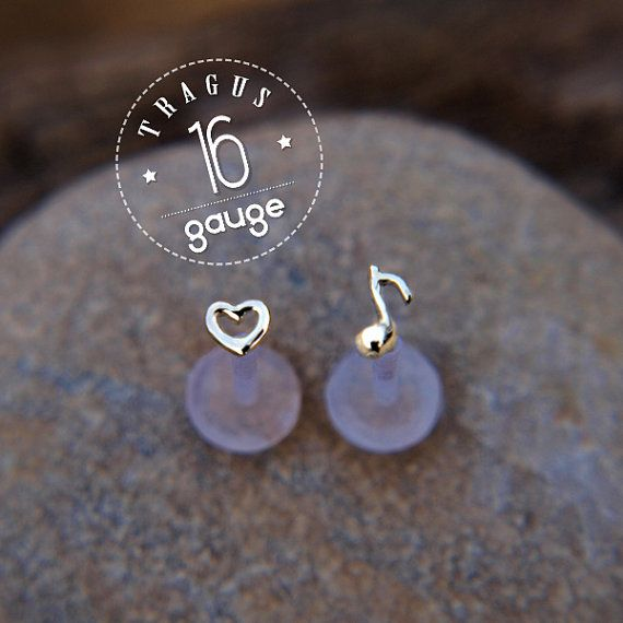 TRAGUS SET 3mm tiny Heart & Music note Sterling silver LABRET /16 gauge/ BioFlex/tragus earring/cartilage earring