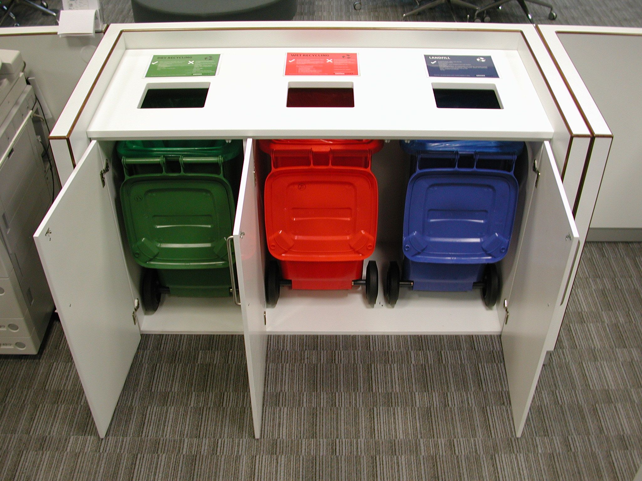 White Storage Cupboard For Wheelie Recycle Bins With