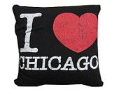 I love Chicago, Illinois recycled t-shirt throw pillow $25