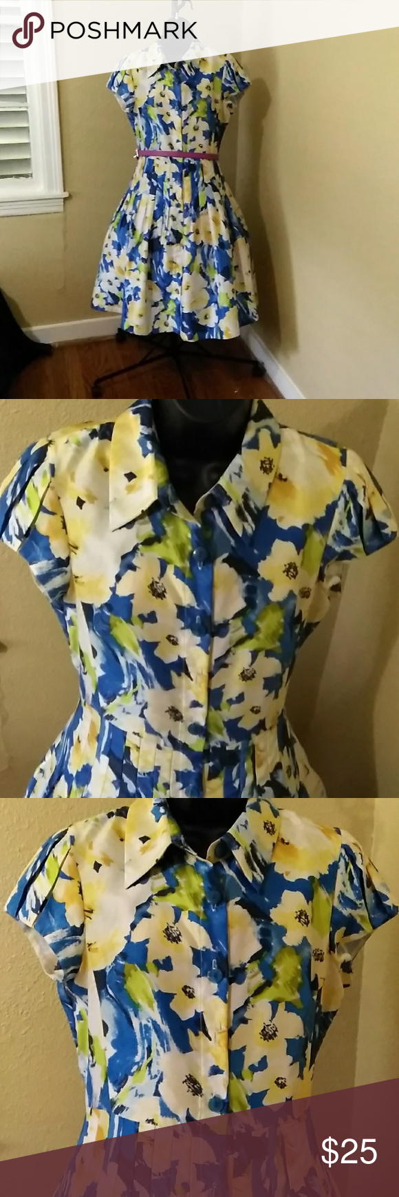 Modcloth Floral Blue Yellow Dress Blue And Yellow Dress Pretty Floral Dress Yellow Dress [ 1740 x 580 Pixel ]