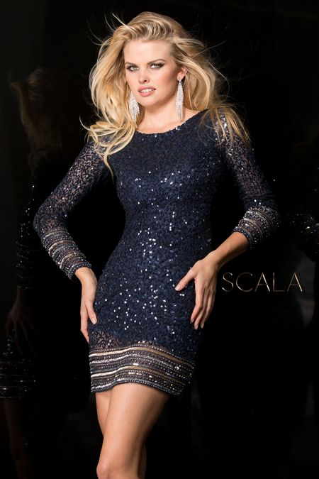 Scala 48356 Long Sleeved Cocktail Evening Dress