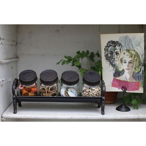 Decorative Glass Jars with Cast Iron Lids and Rack - Brown