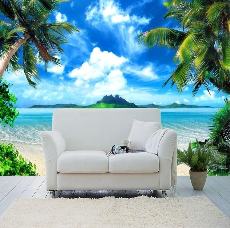 Island Beach Scenes: 3d Tropical Island Palm Trees Beach Scene Wallpaper In