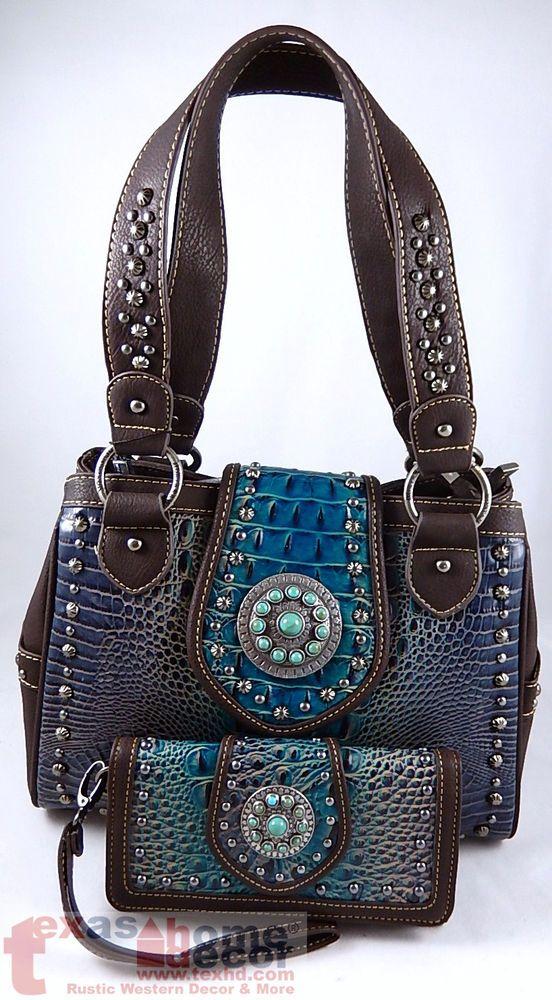 Montanta West Western Handbag Wallet Set Turquoise Concho Teal Brown Croc Studs Montanawest Shoulderbagwalletset