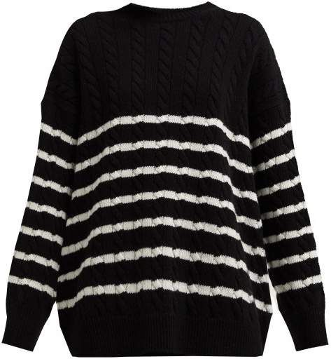 Loewe Oversized Striped Cable Knit Wool Sweater Womens