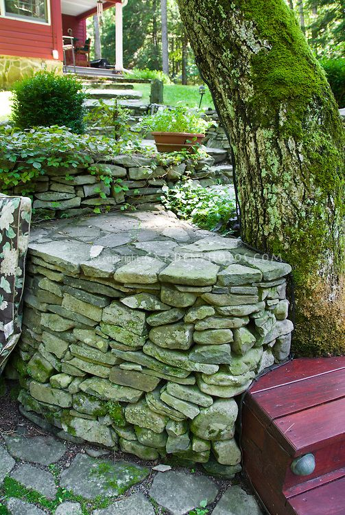 native stone wall landscaping