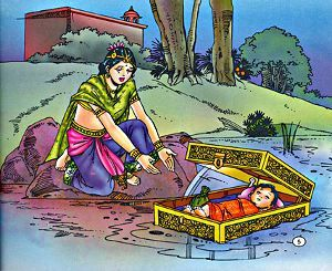 The Birth of Karna -Sun-god finally gave Kunti a beautiful son, an infant bedecked with a celestial armor and earrings. kunti floated the box in the river and prayed Sun-god to take care This son was found by Adirath, the charioteer of the king of Hastinapur, Dhritarashtra. Adirath had always longed for a son but he and his wife, Radha could never have one.