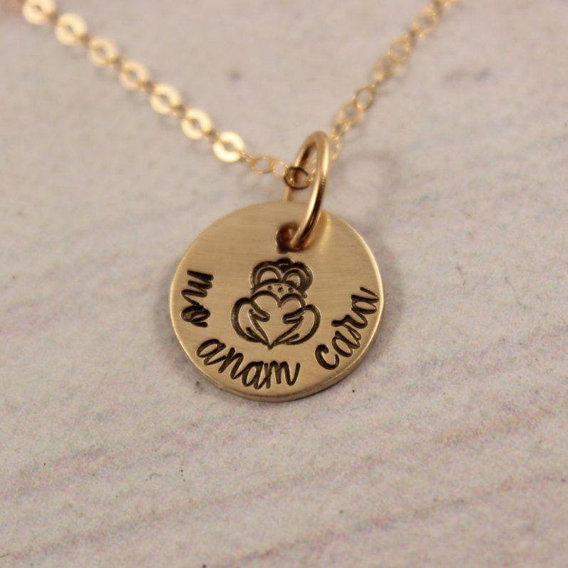 Mo Anam Cara Irish / Gaelic Hand stamped brass and gold