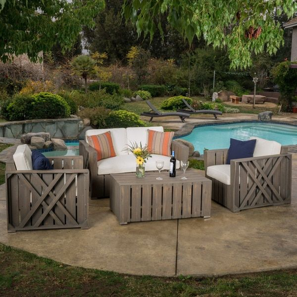 Outdoor Cadence 4 Piece Acacia Wood Chat Set With Cushions By