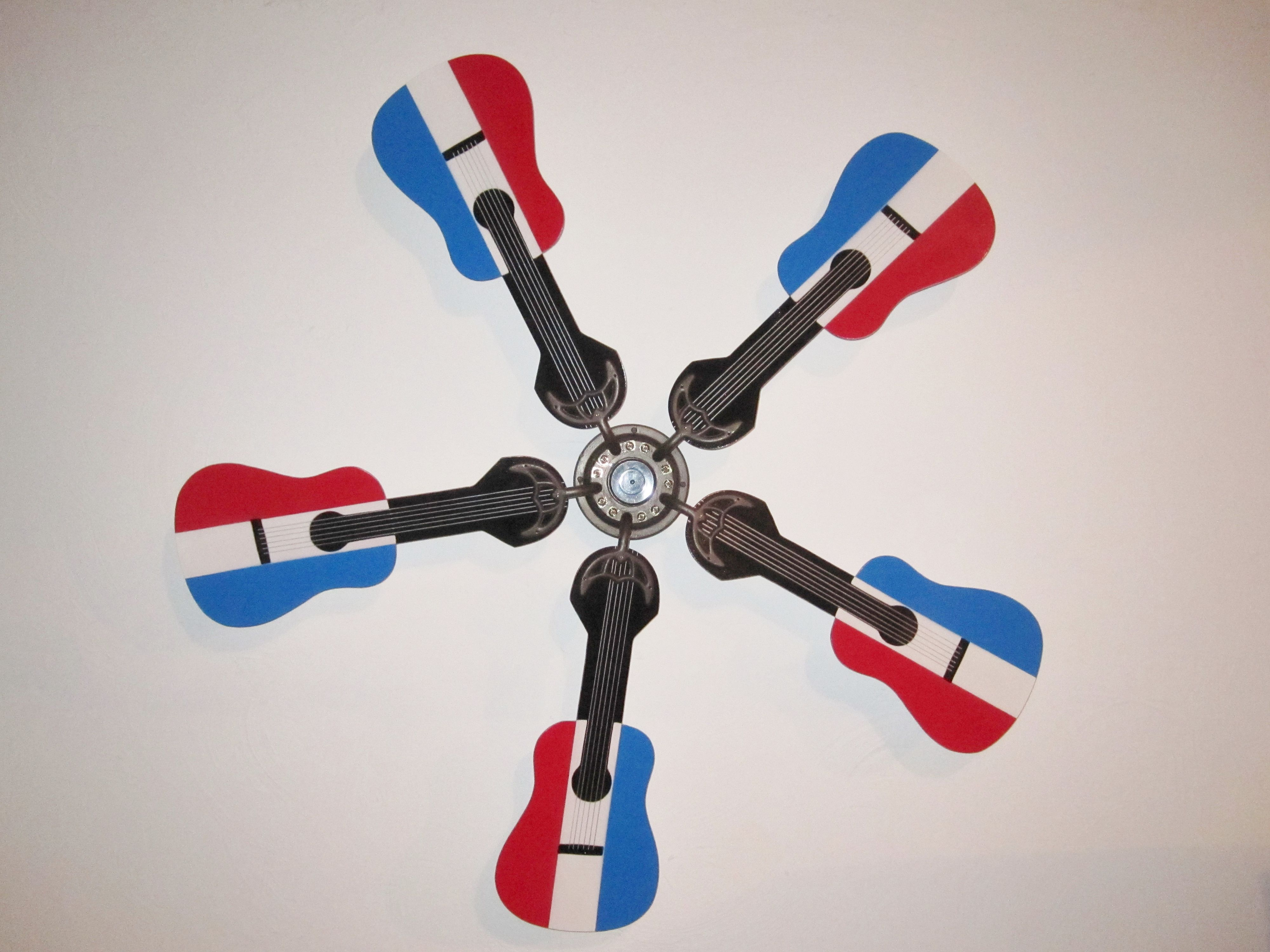RED WHITE AND BLUE ACOUSTIC GUITAR SHAPED REPLACEMENT CEILING FAN