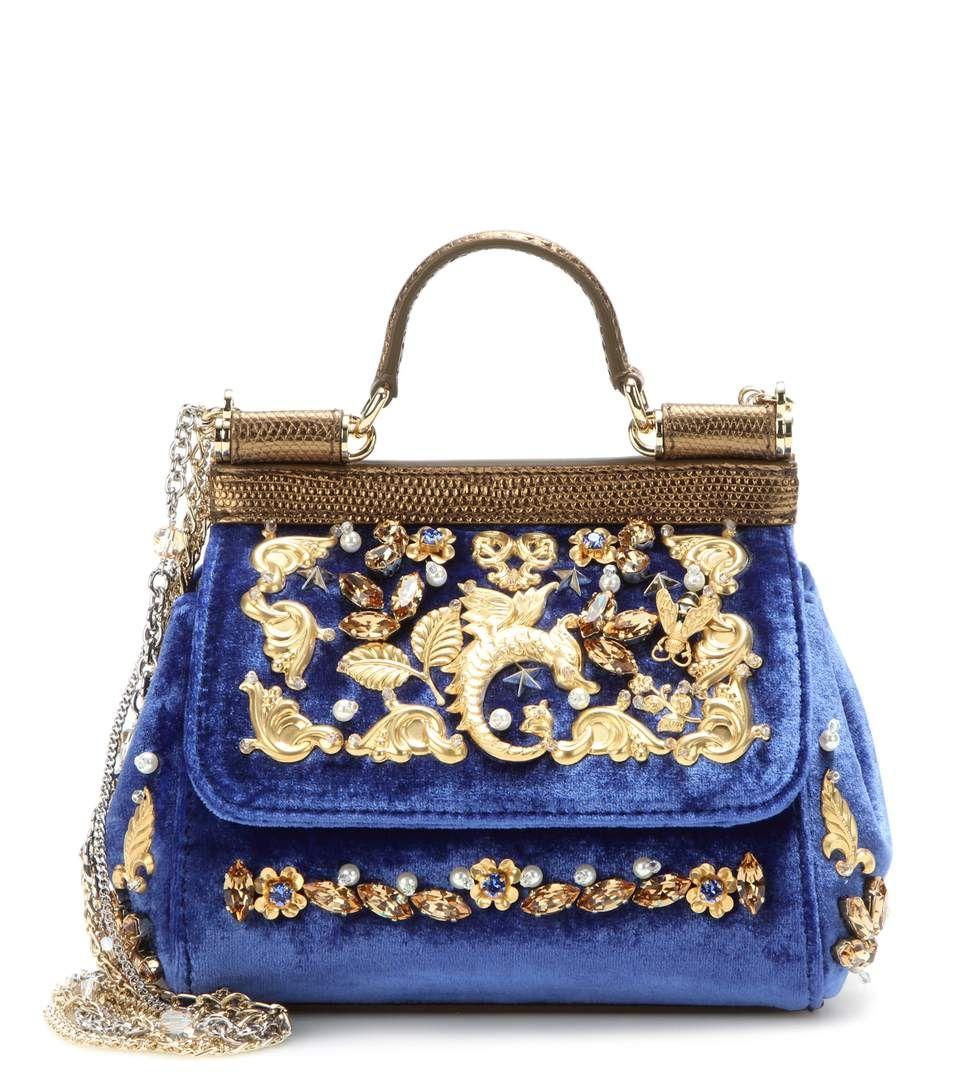 Dolce & Gabbana Embellished velvet shoulder strap ZJfZW0c