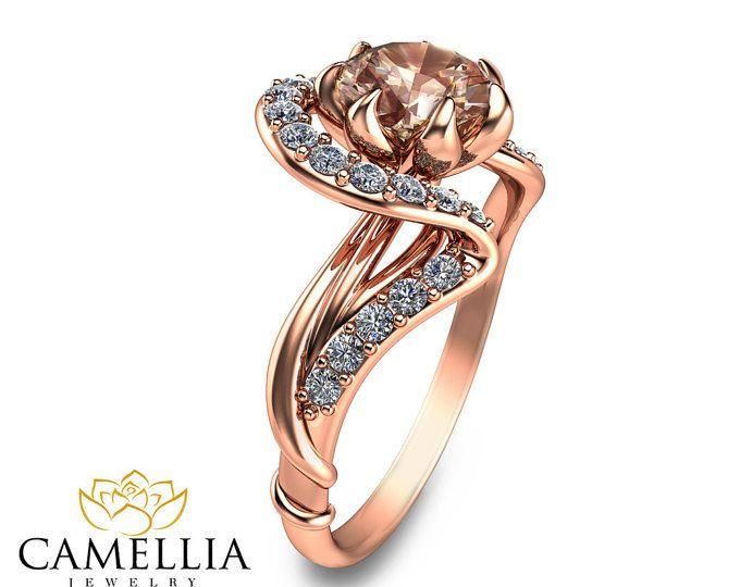 1193894dcce6 Rosa de oro puro anillo Art Nouveau anillo de compromiso flor diseño en 14K  rosa Morganita rosa oro y diamantes