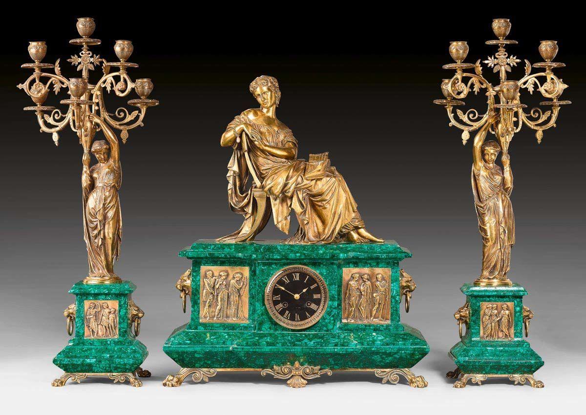 MALACHIT-KAMINGARNITUR, Napoléon III, in der Art von J. PRAD