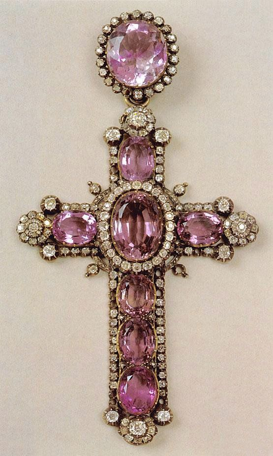 Sign of the Cross ✟ :: Amethyst and Brilliants Cross by Faberge Russian Jewelry…