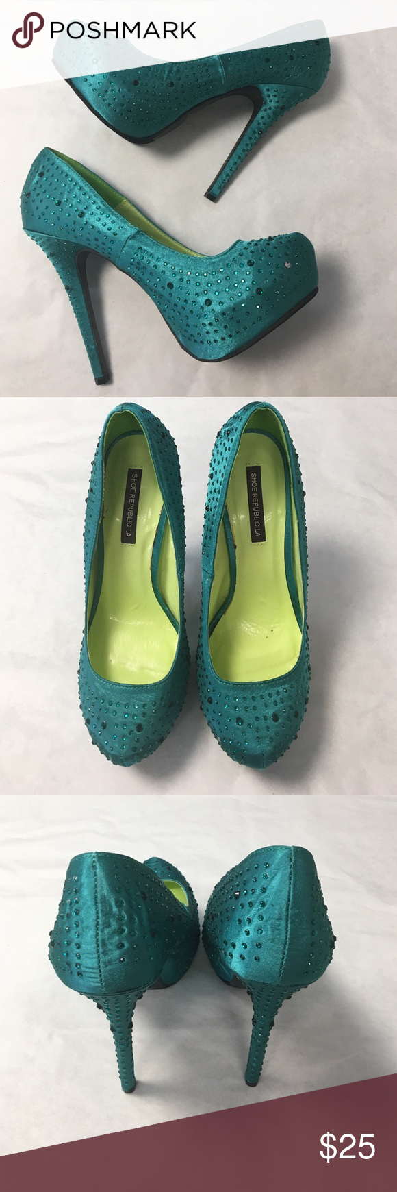 Gorgeous satin Pumps with rhinestones sea green These satin Pumps are absolutely beautiful. Smooth sea green satin upper with sparkly rhinestones. Shoe Republic LA brand. Unworn...just tried on. These are too big for me . Size 9. I was hoping they ran small to fit my size 8 foot. No luck. Someone will love these & actually be able to fit them. There is only 1 rhinestone missing and it's not notice while wearing IMO. See 1st pic. Can be colored w/ a marker if desired. shoe republic L.A  Shoes…
