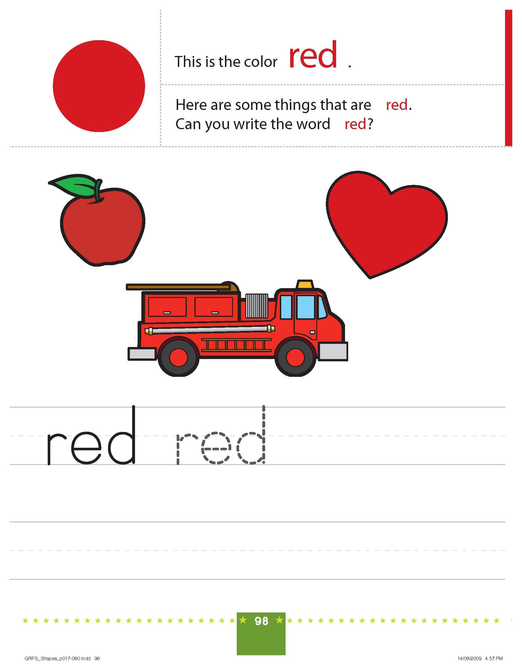 Teaching Colors RED | Preschool worksheets free printables ...