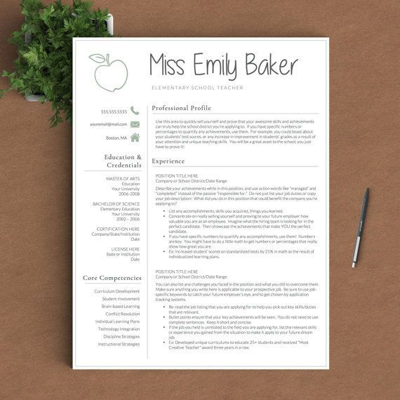 Teacher Resume Template for Word  Pages 1, 2 and 3 Page Resume